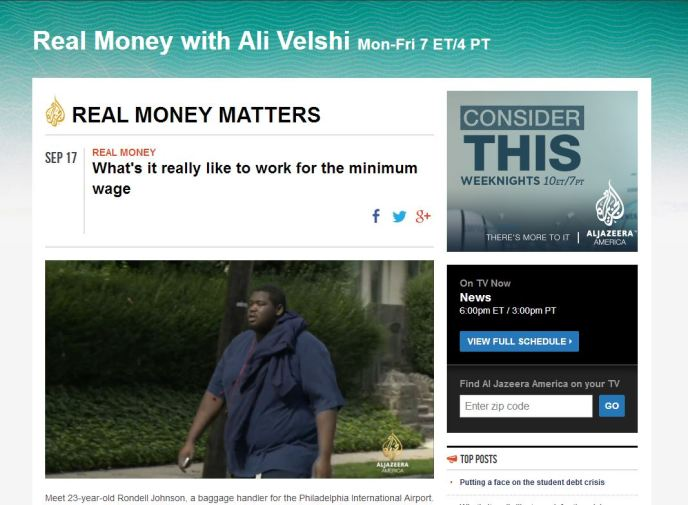 Rondell Johnson, minimum wage, Al Jazeera America, Real Money with Ali Velshi